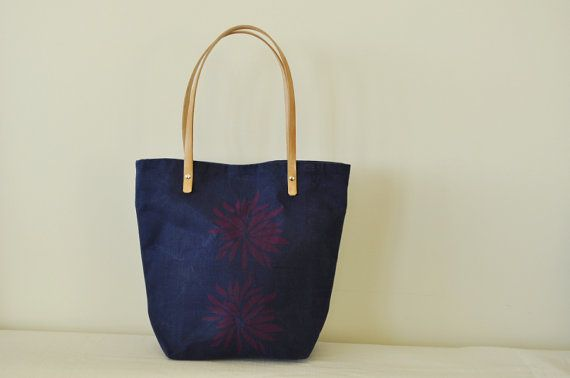 the tote bag in indigo blue with fuchsia pink by heyBoom on Etsy, $40.00