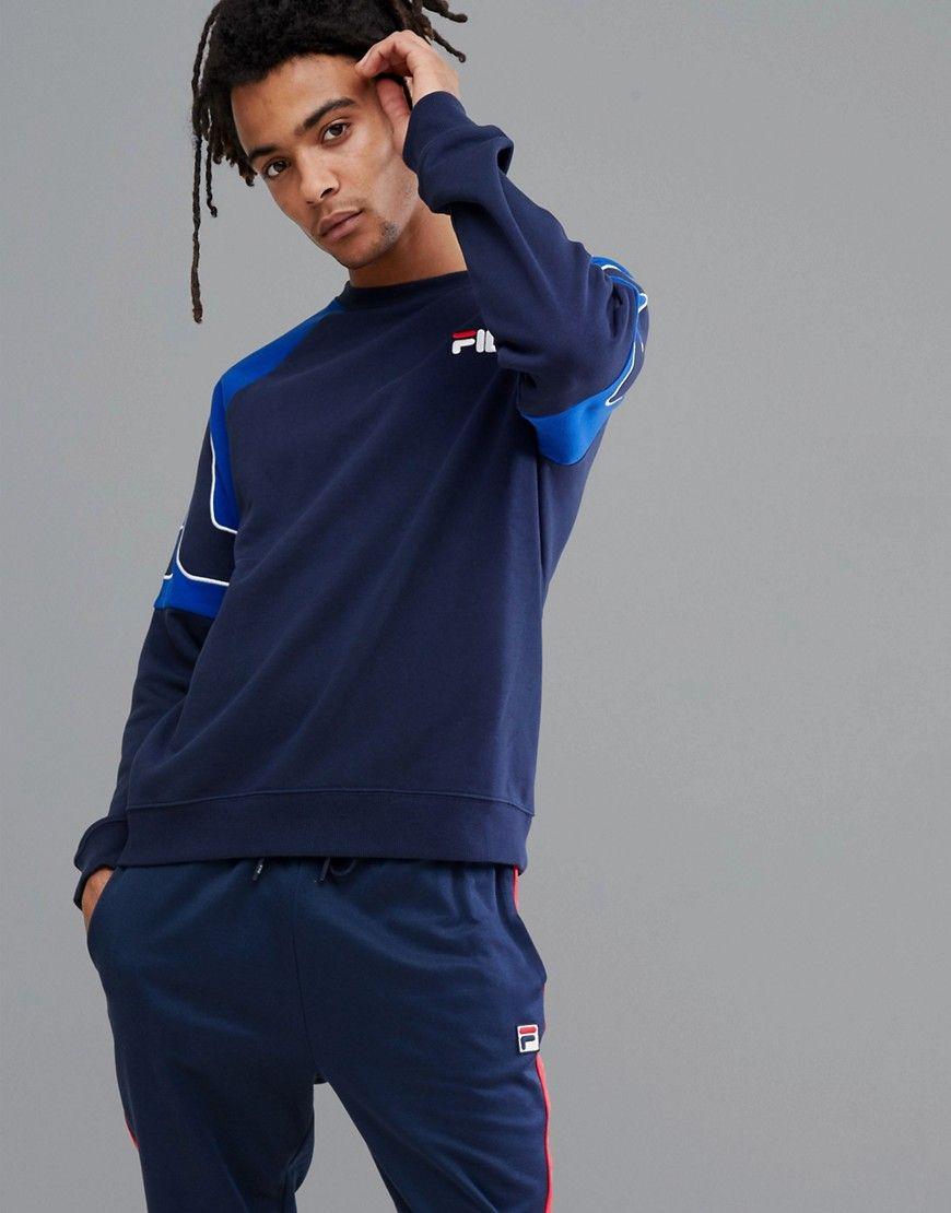 0798bae5417f Fila Black Line Sweatshirt With Embroidered Sleeve Logo In Navy - Navy