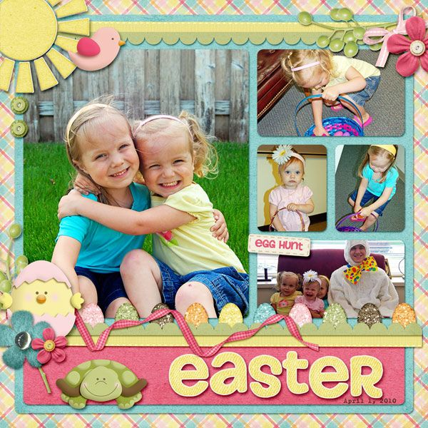 "Bright And Colorful ""Easter Egg Hunt"" Scrapping Page...Sarah8914 Gallery: Scrapbook.com"