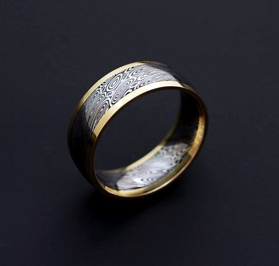 Genuine Damascus And 18k Ring Mens Steel Gold Stainless Pd50 Yellow 1cTK3JulF