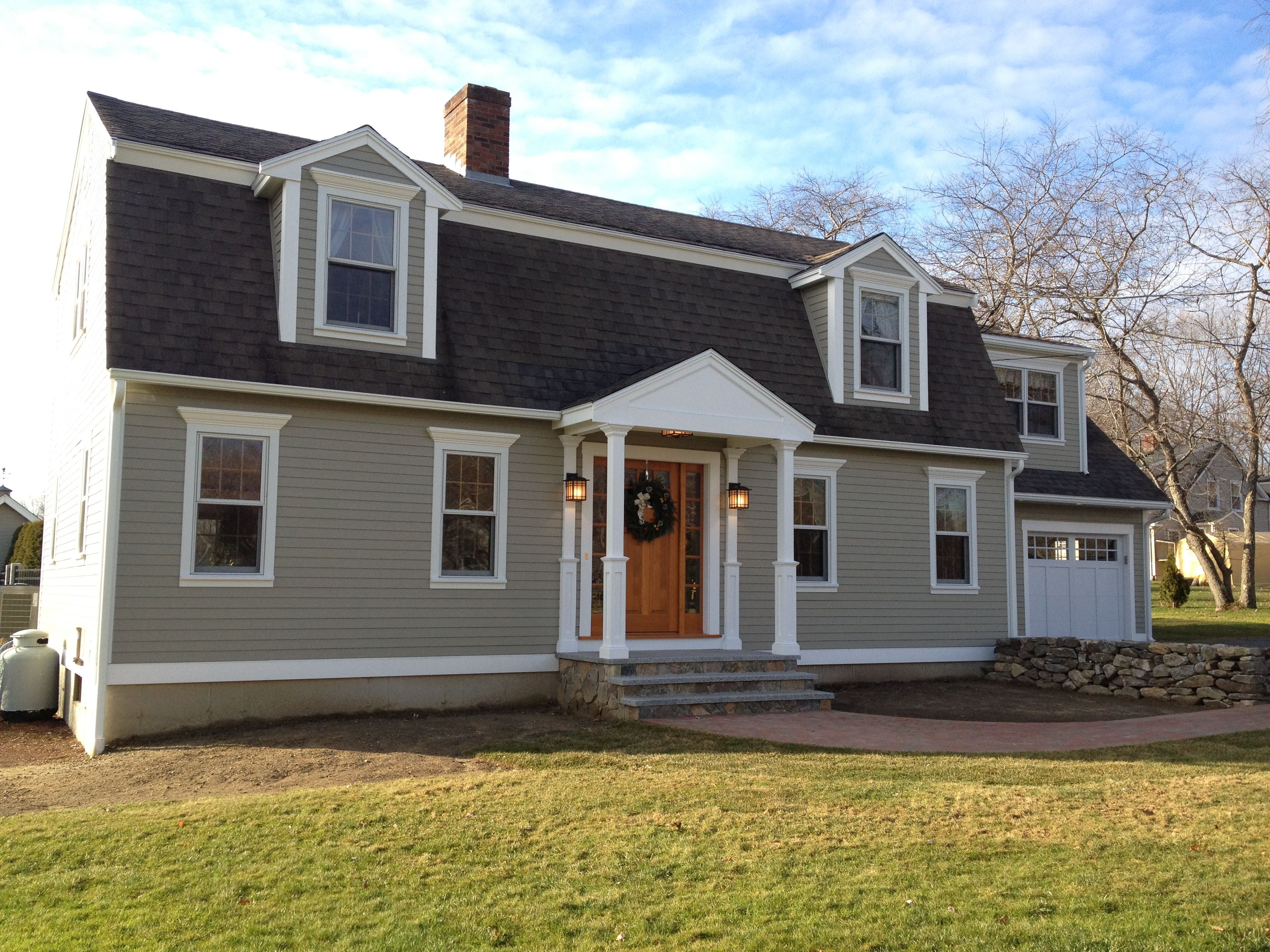 James Hardie Hardieplank Monterey Taupe Color With Custom Portico Gray House Exterior Exterior Gray Paint Exterior Paint Colors For House