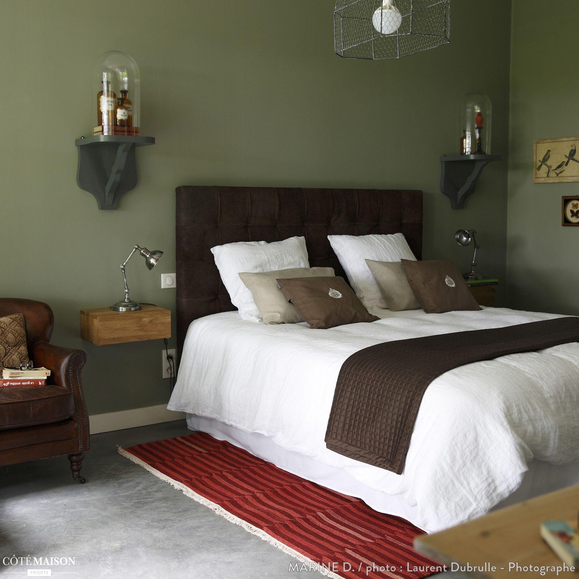 une chambre au mur vert kaki mignon pinterest mat riaux naturels. Black Bedroom Furniture Sets. Home Design Ideas