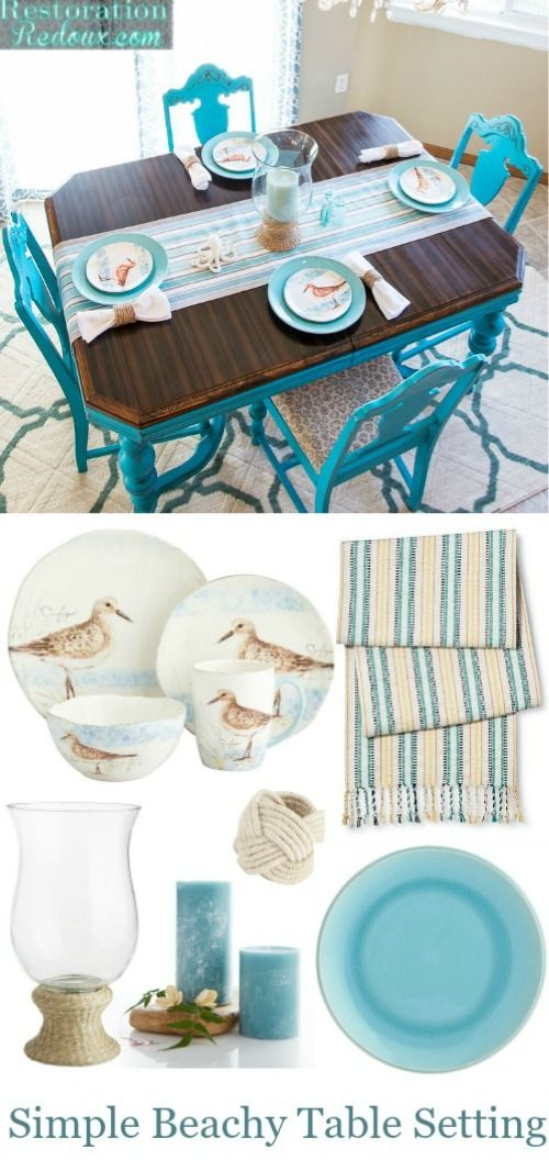 Beach tabletop decor: http://www.completely-coastal.com/2016/04/simple-coastal-beach-table-decor.html Create a simple beach table setting with 3 decor essentials. Table runner, coastal beach dinnerware and candle centerpiece.