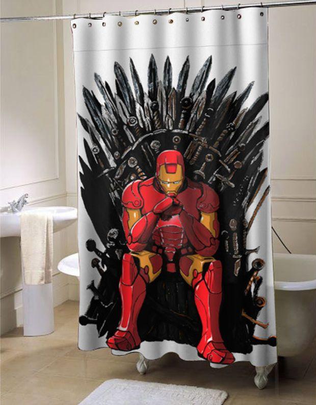 The Iron Man Throne Shower Curtain Customized Design For Home Decor Man Shower Cute Curtains Shower Curtain Decor
