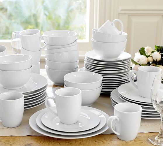 Catereru0027s 4 u0026 Dinnerware Sets 12 Dinner Plates 12 Salad Plates 8 bowls - simple clean white look and plenty in quantity because we have block parties every ... & Catereru0027s 4 u0026 12-Piece Dinnerware Sets | Pottery Barn: Set of 12 ...