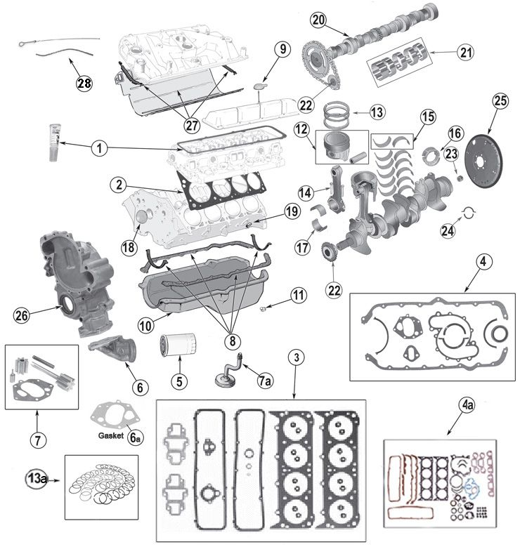AMC V-8 5.0L 304 and 5.9L 360 Engine Parts for Jeep CJ's