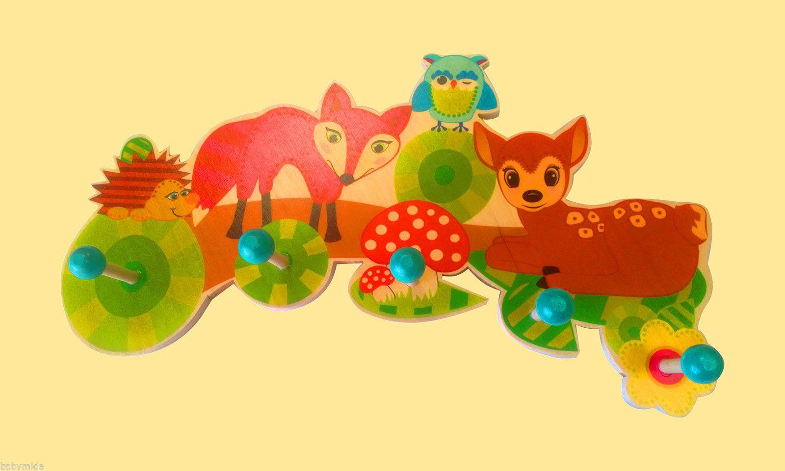 Kleiderhaken Clipart Details Zu Kinderzimmer Kinder Holz Garderobe Waldtiere