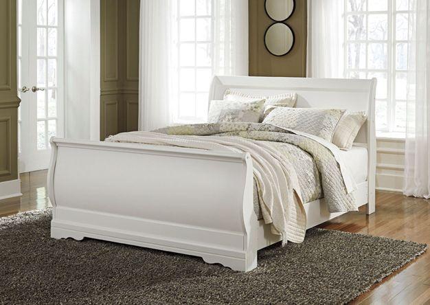 Best Anarasia White Queen Sleigh Bed Queen Sleigh Bed White 400 x 300