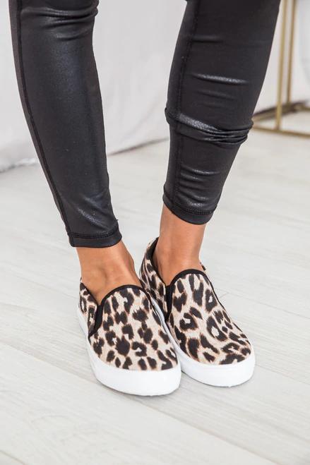 Print sneakers, Leopard slip on sneakers