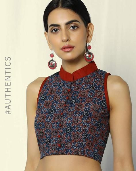 0bb484149961d9 Buy Blue Molcha Ajrak Handblock Print Sleeveless Cotton Blouse with  Mandarin Collar