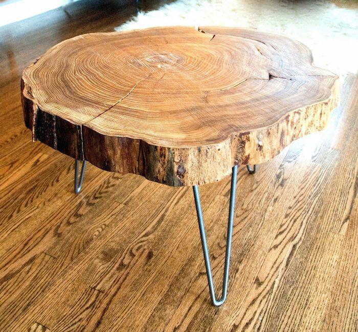 table basse rondin de bois nature et