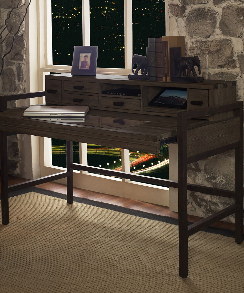 Burnished Cocoa Blair Extending Top Desk - Solid elm wood / metal.