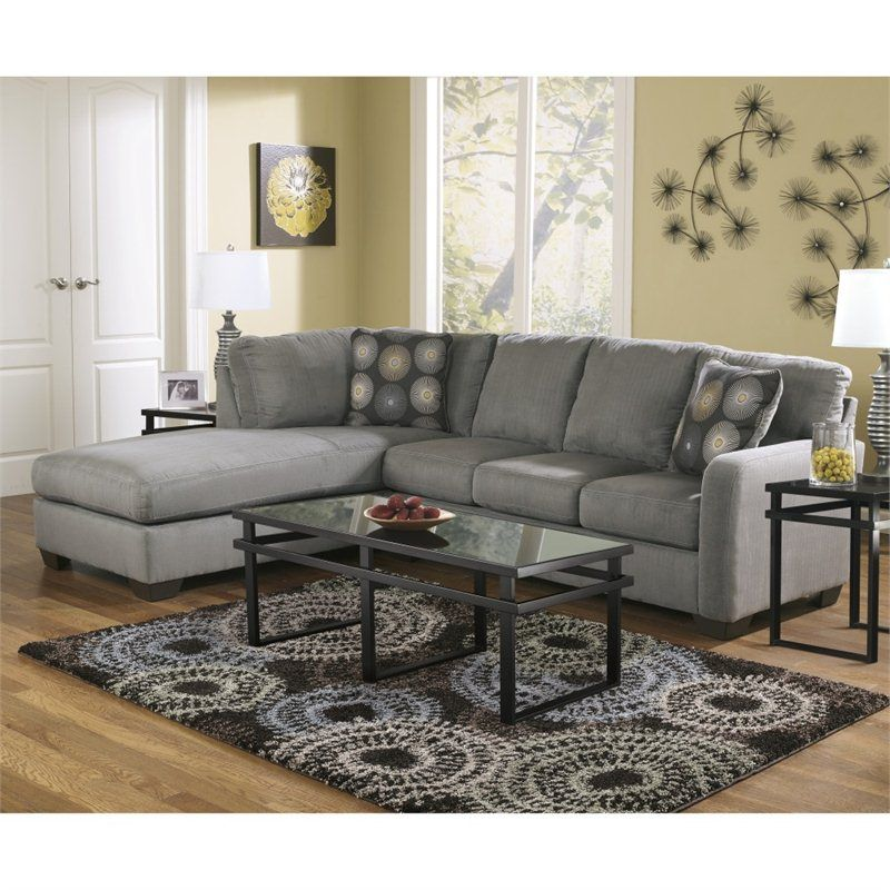 Signature Design By Ashley Furniture Zella Microfiber Sofa Sectional In  Charcoal