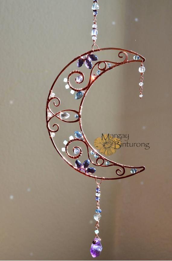 Photo of Crescent Suncatcher witchy wire art Swarovski crystal | Etsy