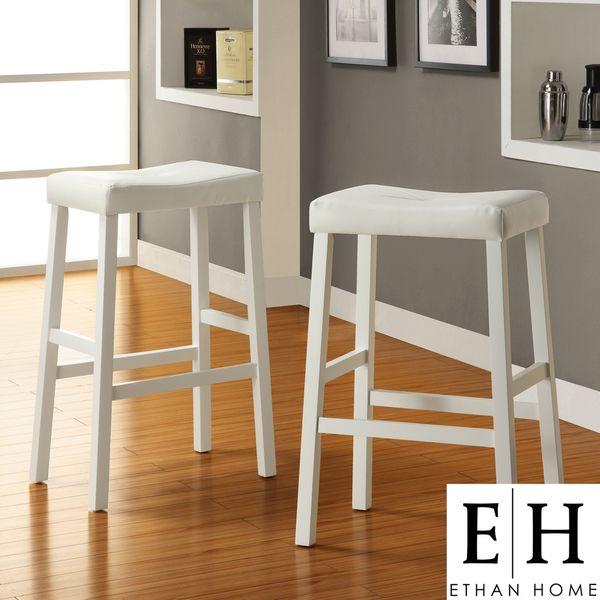 Ethan Home Nova White Saddle Cushioned Seat 29 Inch Barstool Set