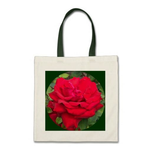 """Framed Red Rose Budget Tote  - This tote is environmentally friendly and truly is a great value. Totes are great as presents or giveaways. The budget tote is made from 100% cotton and has strong handles with reinforced stitching. Dimensions: 15.75""""h x 15.25""""w.- $11.95"""