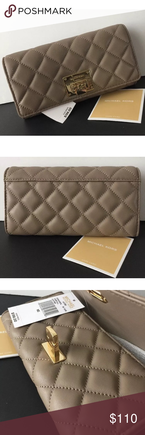 4e8448897ef2 Michael Kors Astrid Carryall Quilt Lthr Wallet 100% AUTHENTIC! NEW WITH TAG   amp