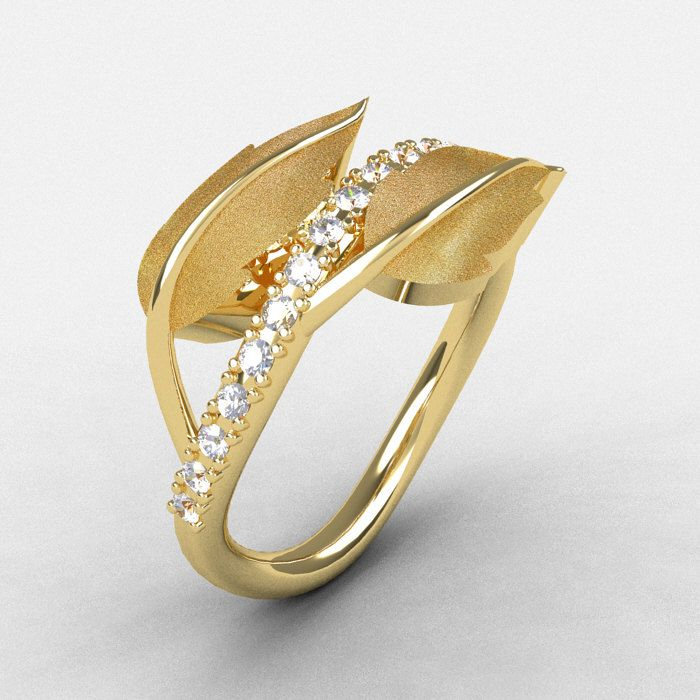 Natures Nouveau 14k Yellow Gold White Shire Leaf And Vine Wedding Ring Engagement Nn113s