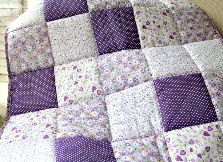 Baby Girl Patchwork Quilt Purple And Lilac Spots And
