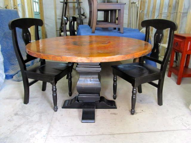 Add some fancy chairs to an elegant copper dining table from Barrio ...