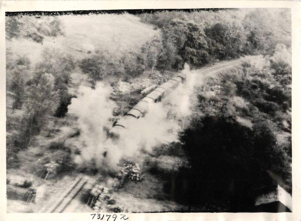 WWII RAF Beaufighters Blast Japanese Train near Kanbalu, Burma Orig Press Photo