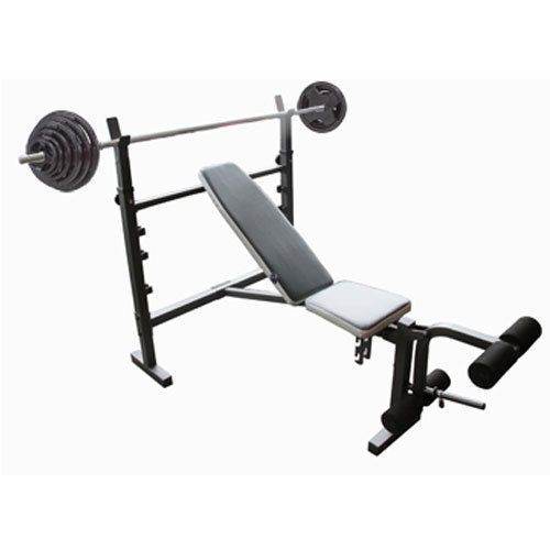 Wide Adjustable Flat Incline Decline Bench Press With 50kg Barbell Hammertone Set This Bench Is A Great Comp Bench Press Incline Decline Bench Barbell Weights