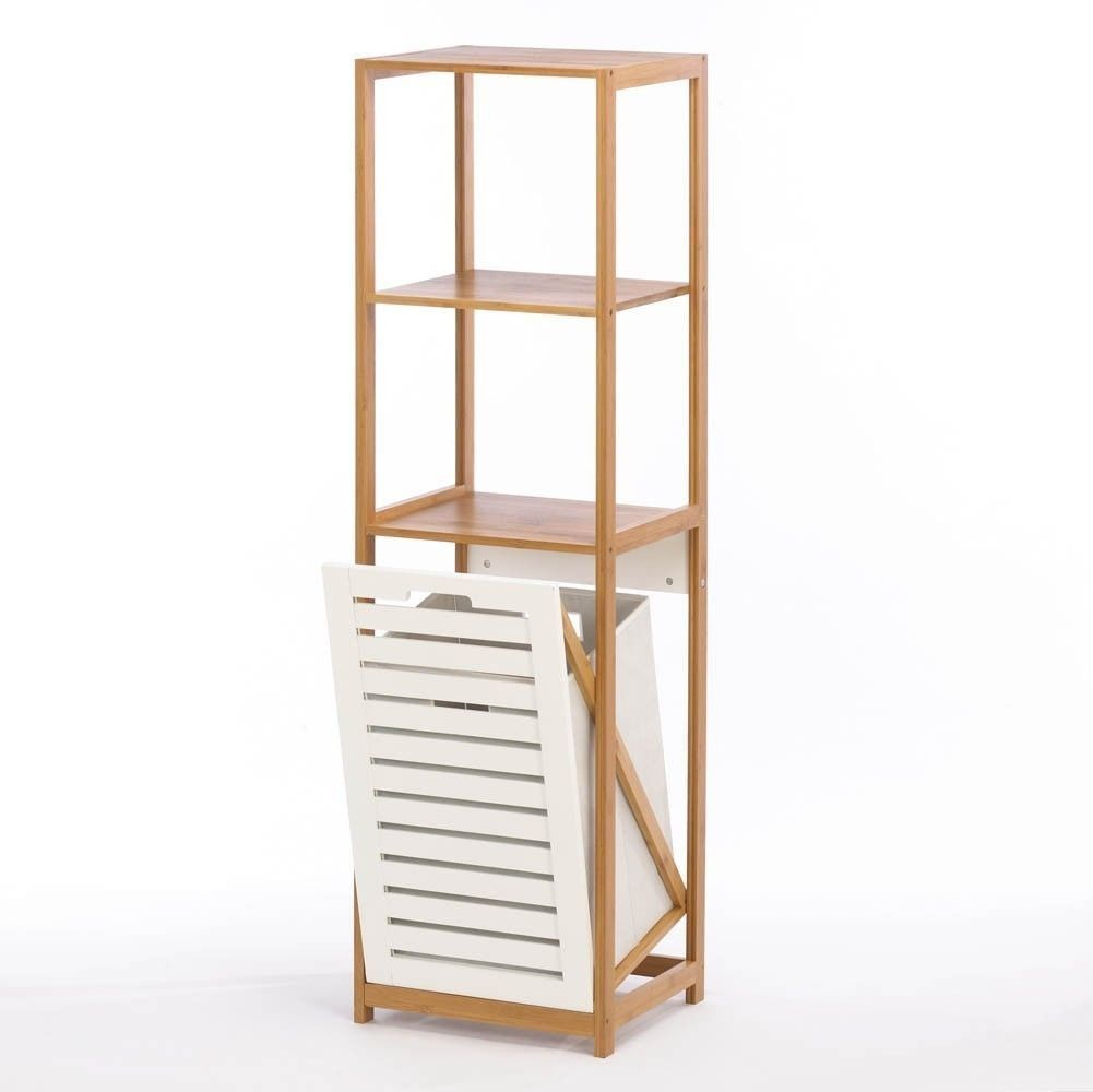 Bamboo Bathroom 3 Shelf Unit Organizer With White Wood