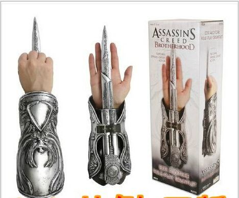 De haute Qualité 1 pcs NECA Assassin Creed Brotherhood Lame Cachée Ezio Auditore Gauntlet Replica Cosplay De Noël Cadeau # AC002