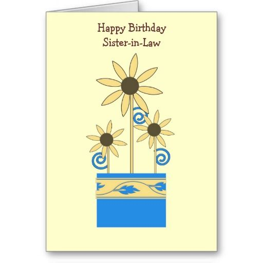 Birthday, Sister-in-law, Daisies, blue container Greeting Cards