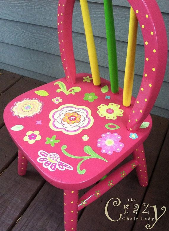 Girls Chair - Pink, Hand Painted, Flowers, Furniture, Girls Room, Home