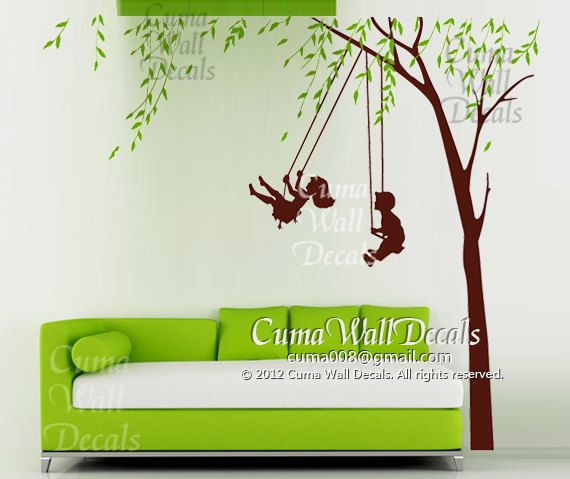 Children Wall Decals Playing Swing Boy Girl Wall Sticker Nursery - Somewhat about wall stickers