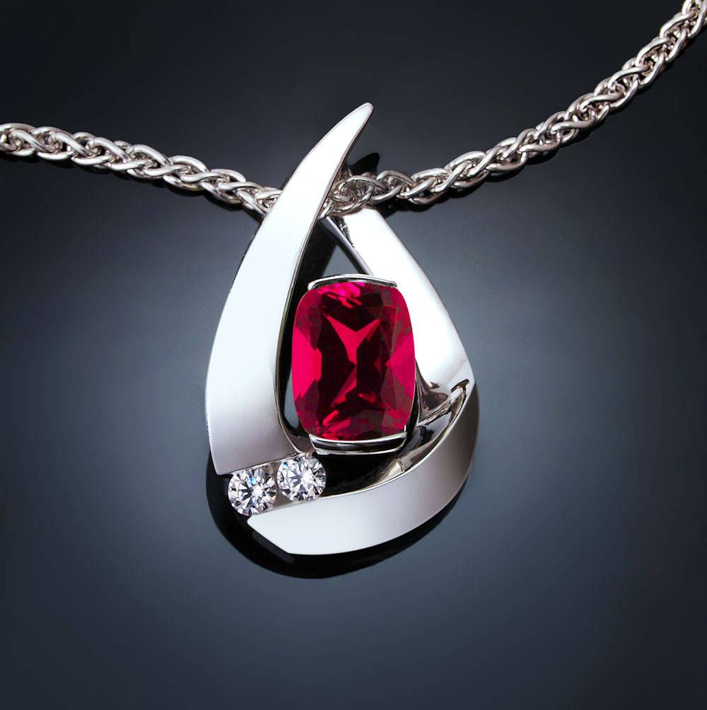 Chatham ruby and white sapphire pendant