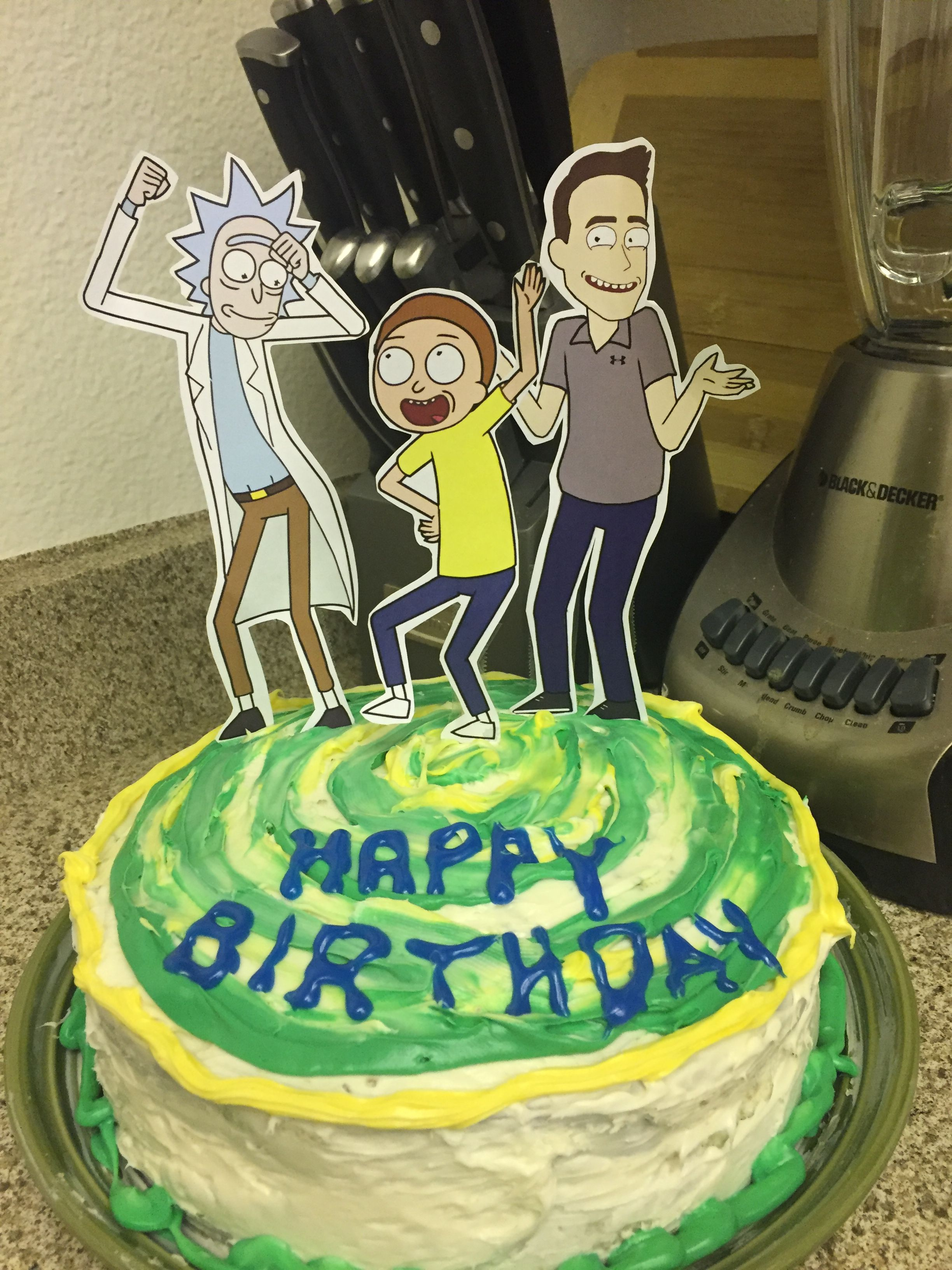 Rick And Morty Portal Cake With Slime Green Interior Getschwifty