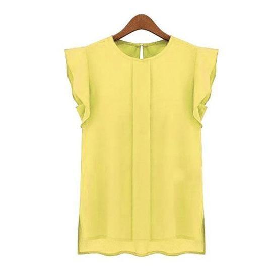 2018 New Fashion Blouses Summer Chiffon O-neck Ruffled Pleated Sleeve Chiffon Shirtsrricdress #chiffonshorts