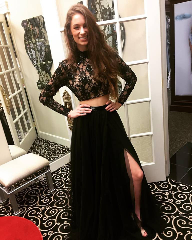 189 usd.Two Pieces Prom Dress,Black Prom Dress,High Slit Evening ...