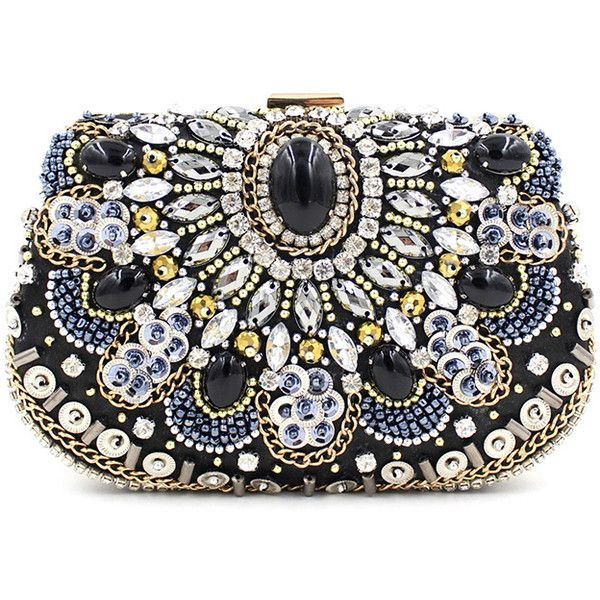 Chicnova Fashion Jewelled Embellished Box Clutch 37 Liked On Polyvore Featuring Bags Handbags Clutches Black Jeweled