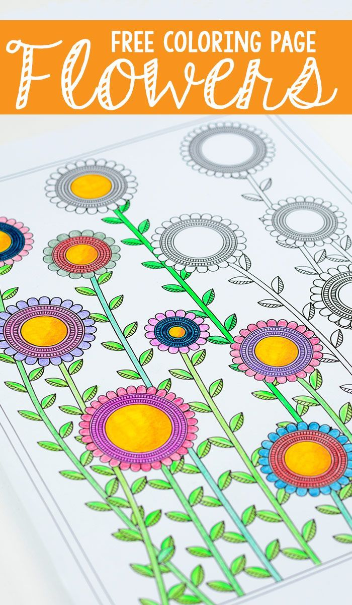 Flower Coloring Page for Adults   Flower and Craft