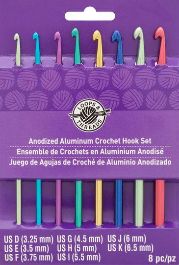 Anodized Aluminum Crochet Hook Set By Loops Threads D K