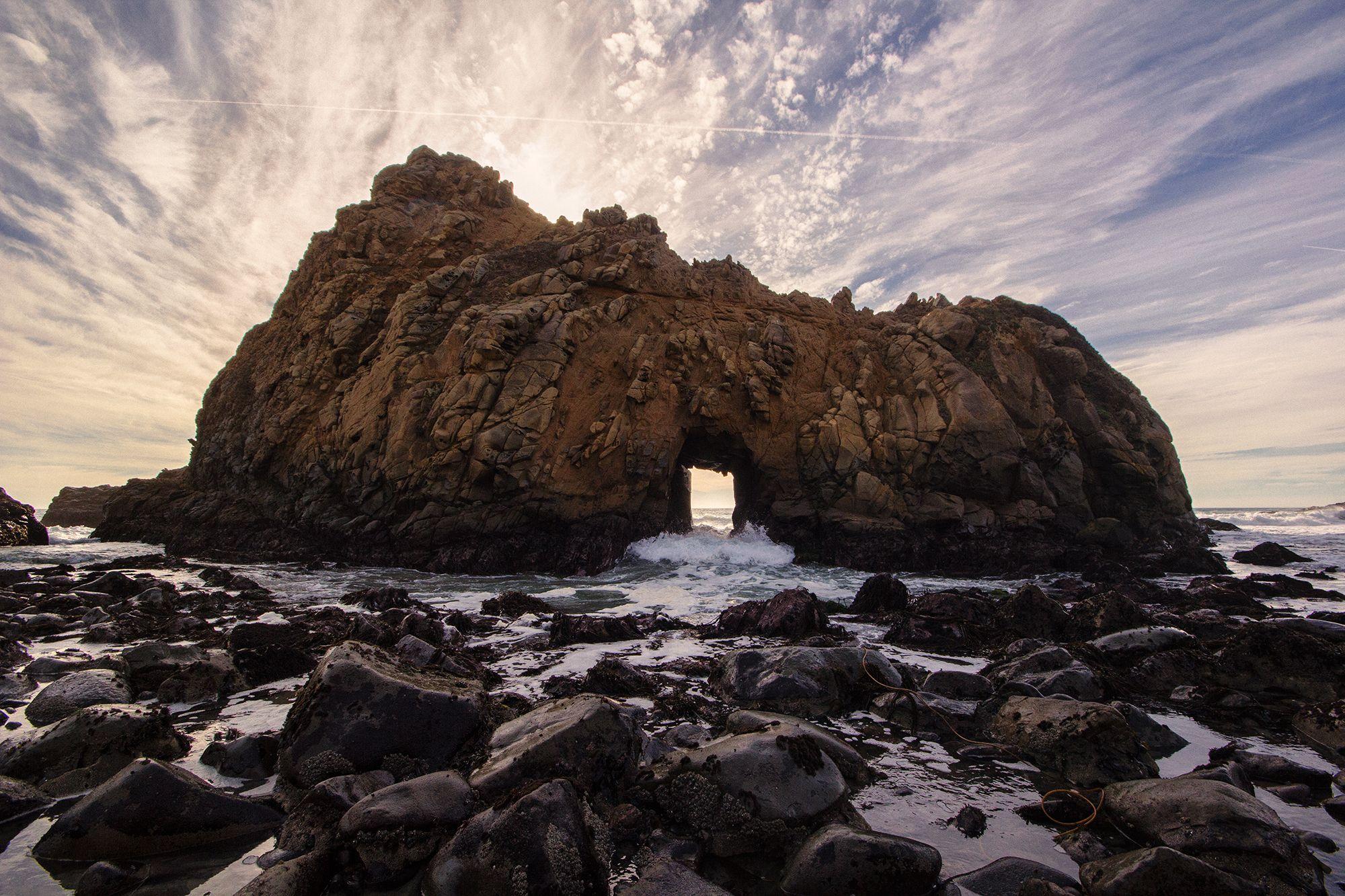 Waves roll through a rock formation at Pfeiffer Beach  Big Sur Coastline California [20001333] [OC] #reddit