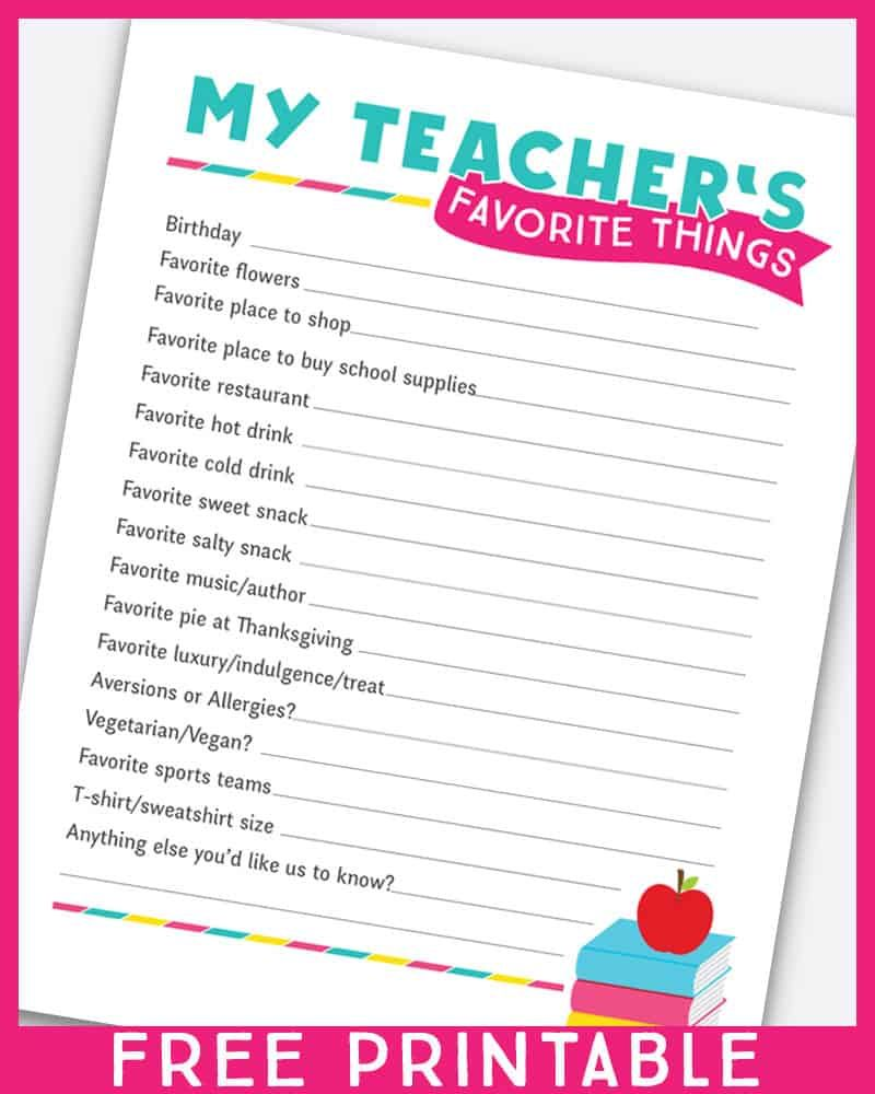 Crafty image within teacher favorite things questionnaire printable