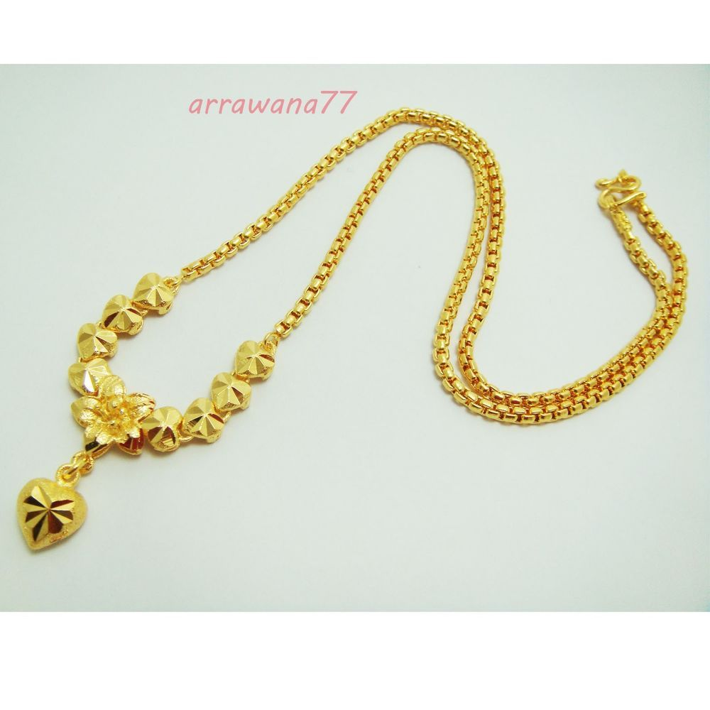 Heart Flower 22k 23k 24k Thai Baht Yellow Gold Plated Necklace Jewelry 5 Micron Gold Jewelry Necklace Gold Necklace Designs Gold Chain Design