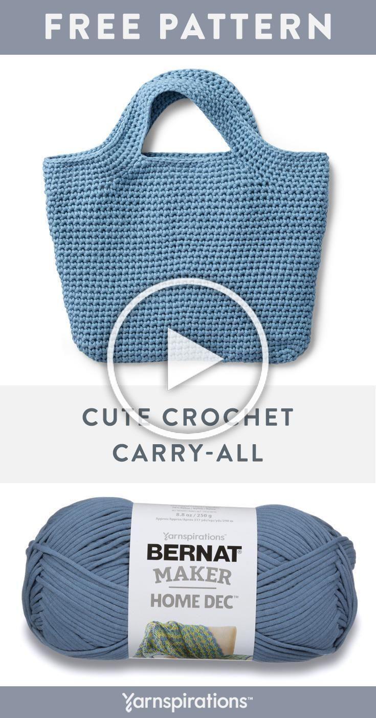 This easy crochet tote bag pattern works up beautifully in Bernat Maker Home Dec