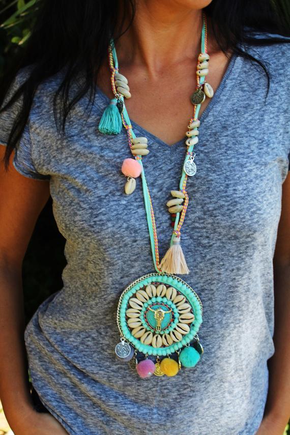 Retro Necklace Silver Turquoise Hippie Bohemian Ethnic Boho Festival Jewelry