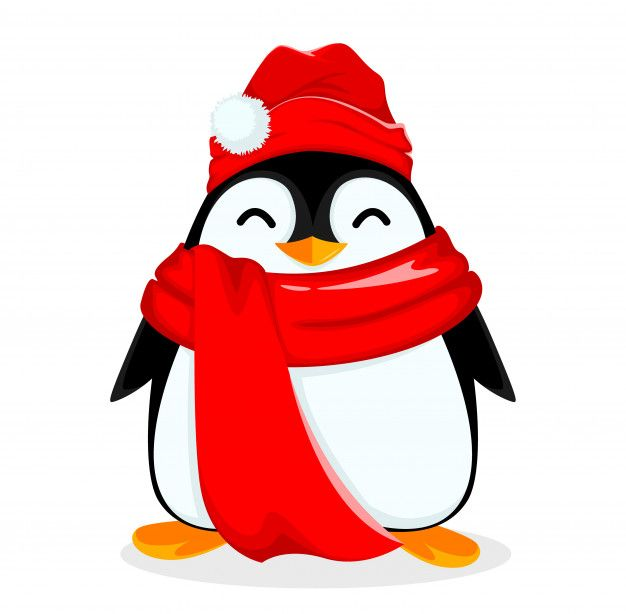 Милый маленький пингвин в теплой шапке и...   Premium ...
