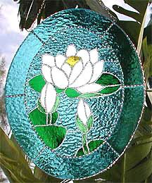 """Stained Glass White Water Lily Floral Stained Glass Suncatcher - 11"""" x 14"""""""