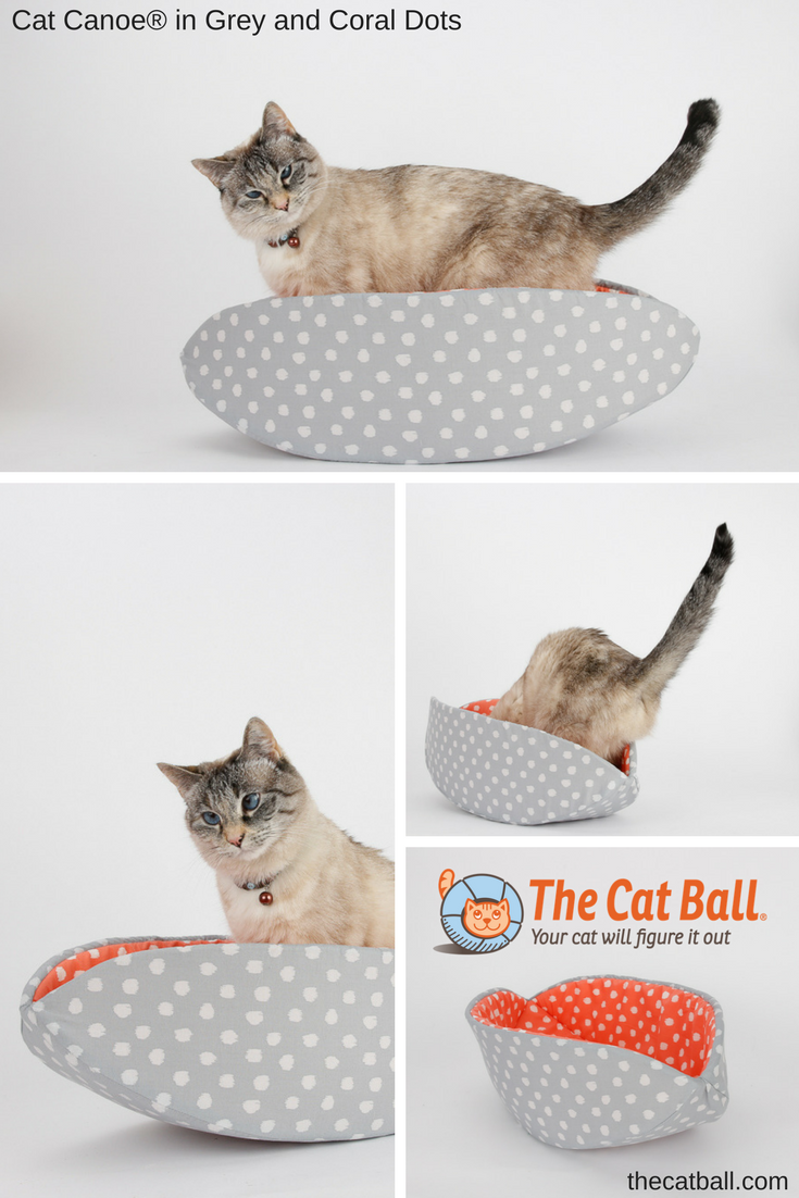 The CAT CANOE modern cat bed made in grey and coral polka