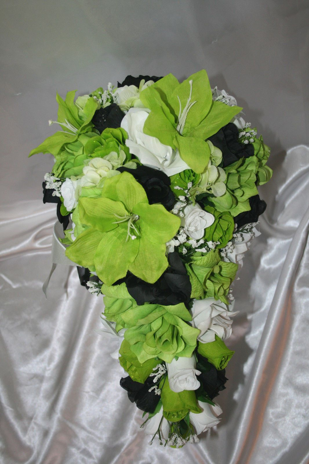 Lime Green Silver And Black Wedding Bridal Bouquet Package Lime