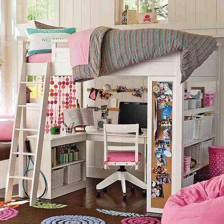 Teen Girls Loft Bed With Desk Pink Bedroom Study Loft Bed Design