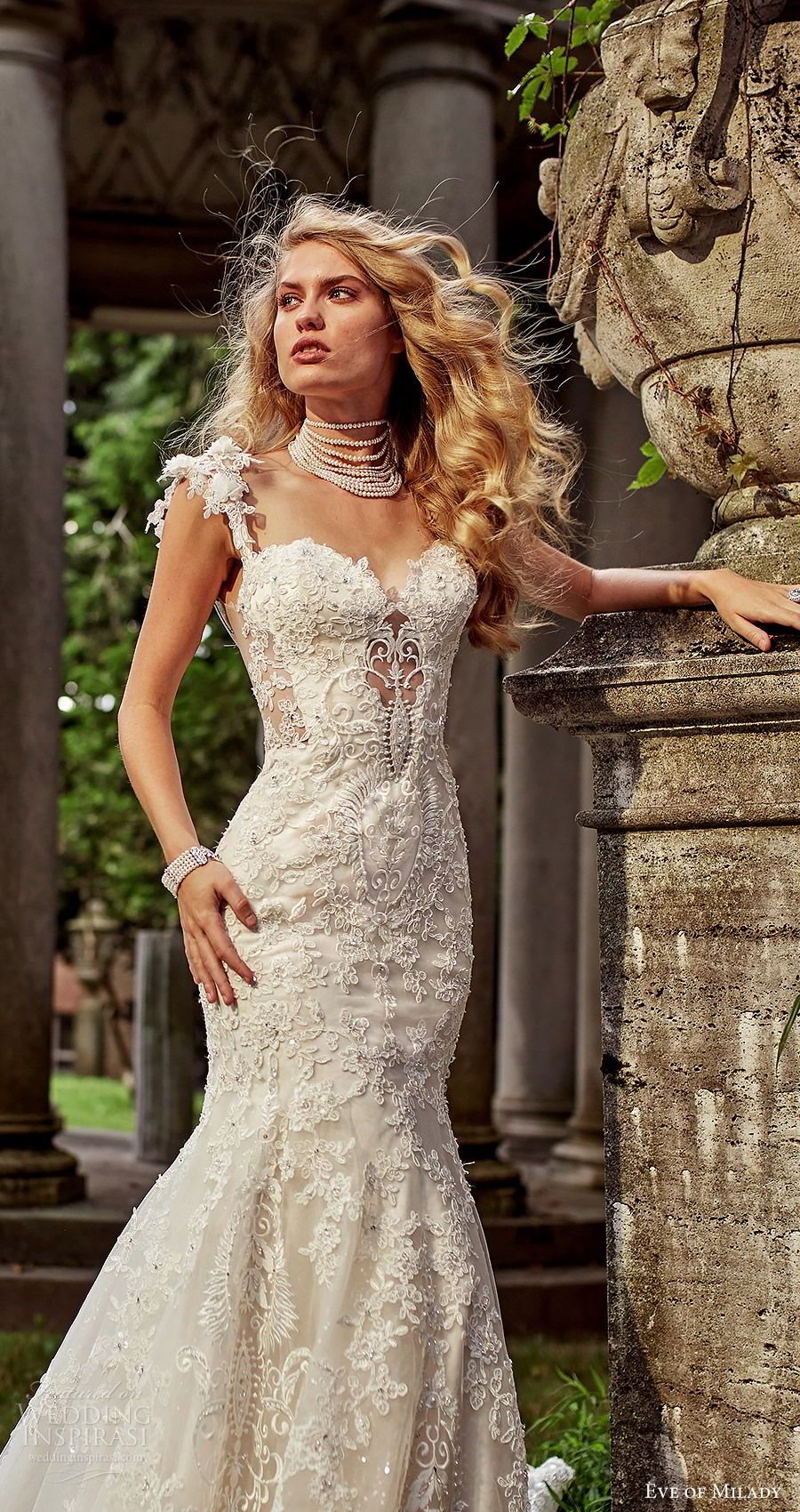 036d395ed5 eve of milady bridal spring 2018 embellished cap sleeves straps sweetheart  beaded lace mermaid fit flare lace wedding dress (1605) zv chapel train  glam ...