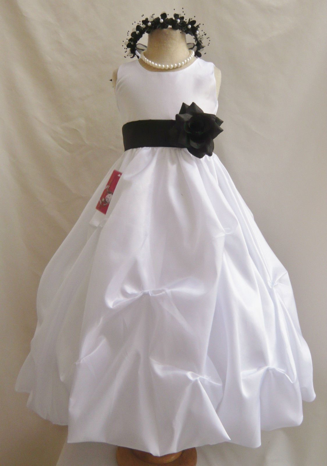 White black bridesmaid toddler pageant bridal party recital flower